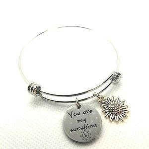 😍2/25 silver stainless steel bangle Adustible sun shine charm bracelet.